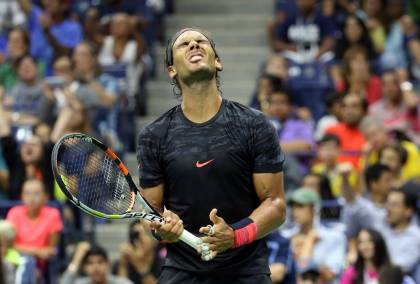 NEW YORK, NY - SEPTEMBER 04: Rafael Nadal of Spain reacts against Fabio Fognini of Italy on Day Five of the 2015 US Open at the USTA Billie Jean King National Tennis Center on September 4, 2015 in the Flushing neighborhood of the Queens borough of New York City. (Photo by Streeter Lecka/Getty Images) ORG XMIT: 571780395 ORIG FILE ID: 486673052