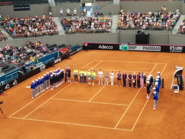Australian and USA Fed Cup teams at Pat Rafter Arena, Brisbane