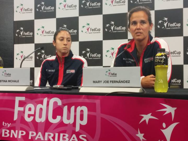 Mary Joe Fernandez and Christina McHale at the press conference