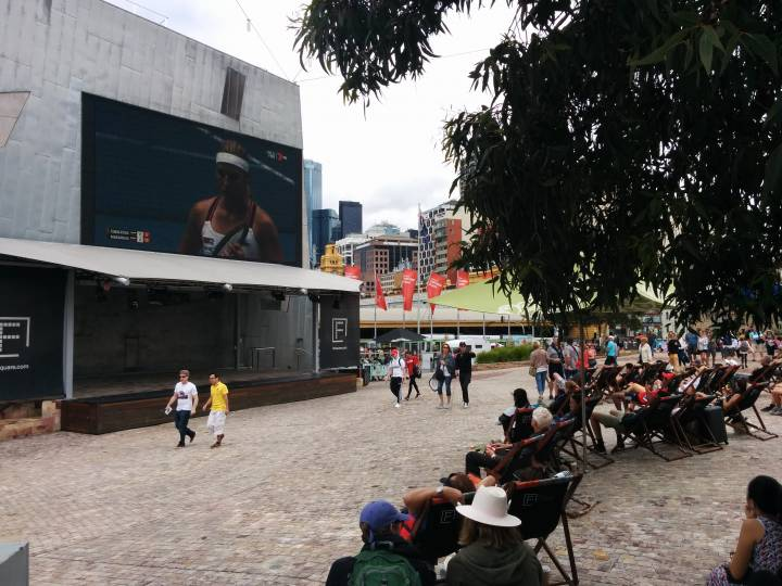 Federation Square with mega screen for the Australian Open