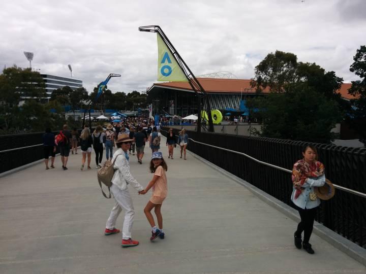 The Margaret Court Arena from the pedestrian bridge