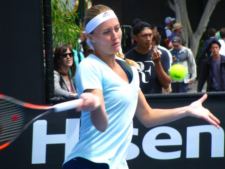 Kristina Mladenovic practicing at the Australian Open