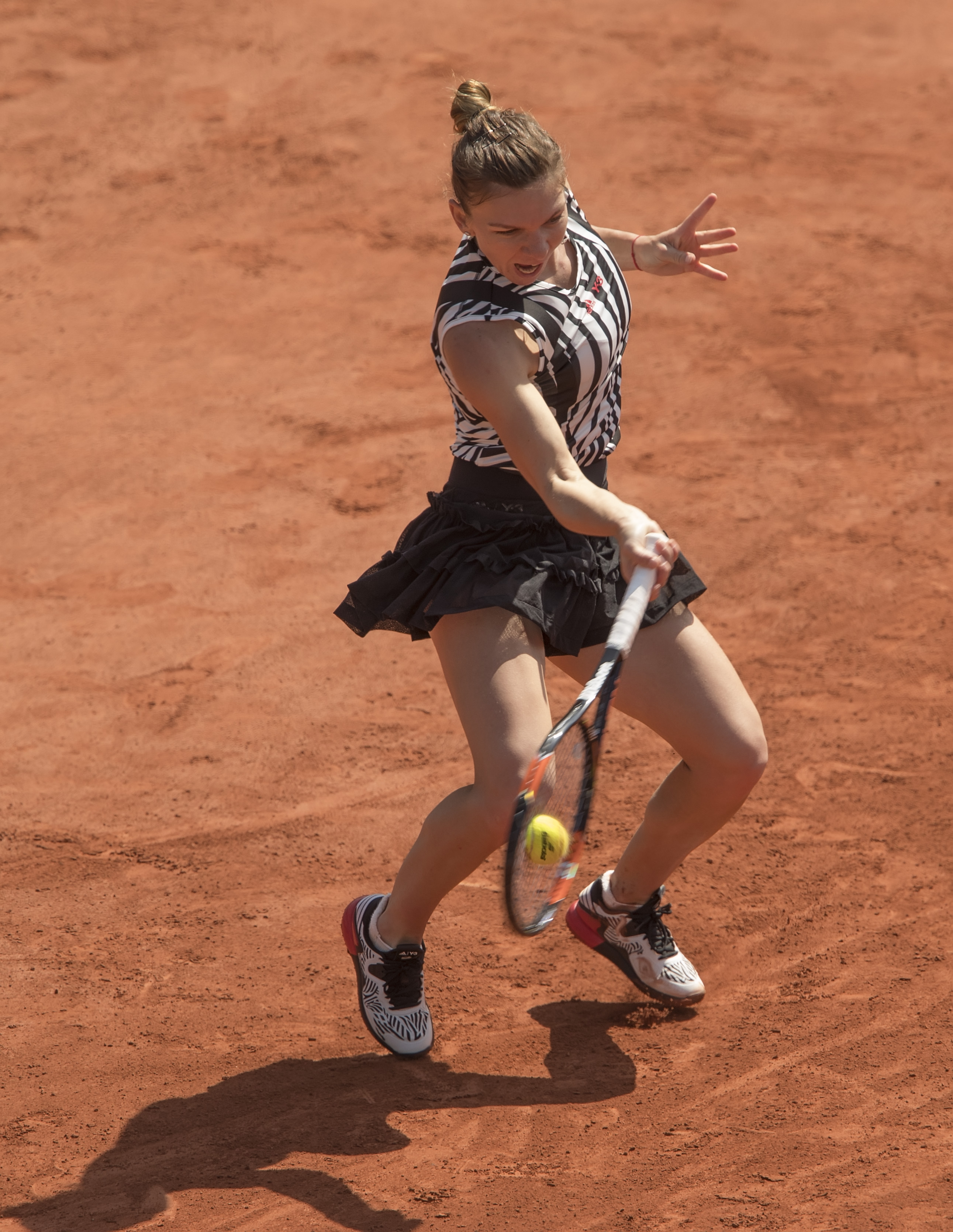 May 25, 2016; Paris, France; Simona Halep (ROU) in action during her match against Zarina Diyas (KAZ) on day four of the 2016 French Open.